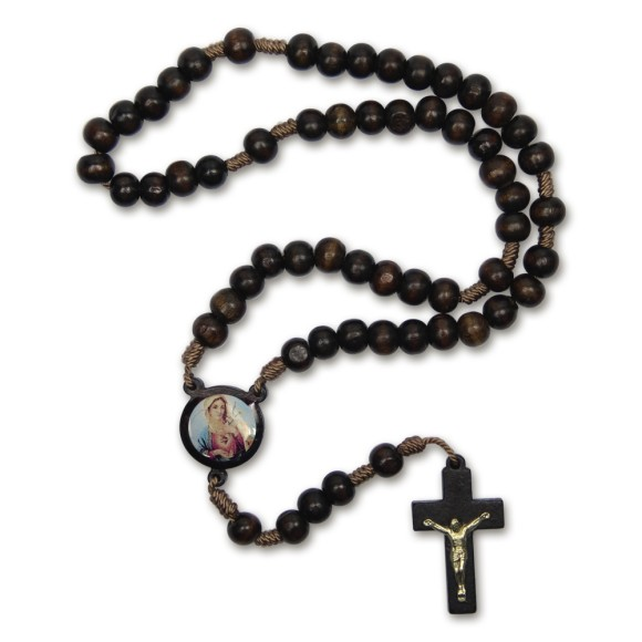 TE940054 - Terço Sagrado Coração de Maria Madeira - 37cm