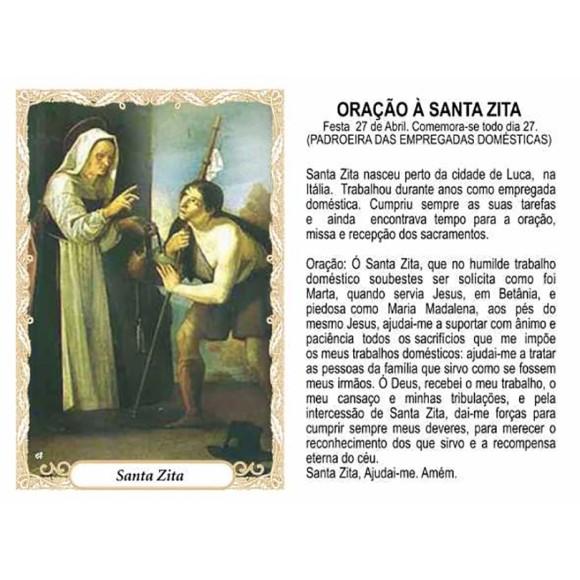 OG14087P100 - Oração Santa Zita c/ 100un. - 9,5x6,5cm