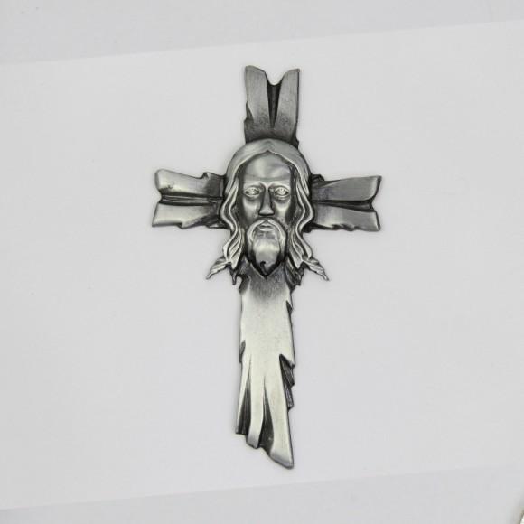 CW830010 - Cruz Sagrada Face de Cristo Níquel - 14x8cm