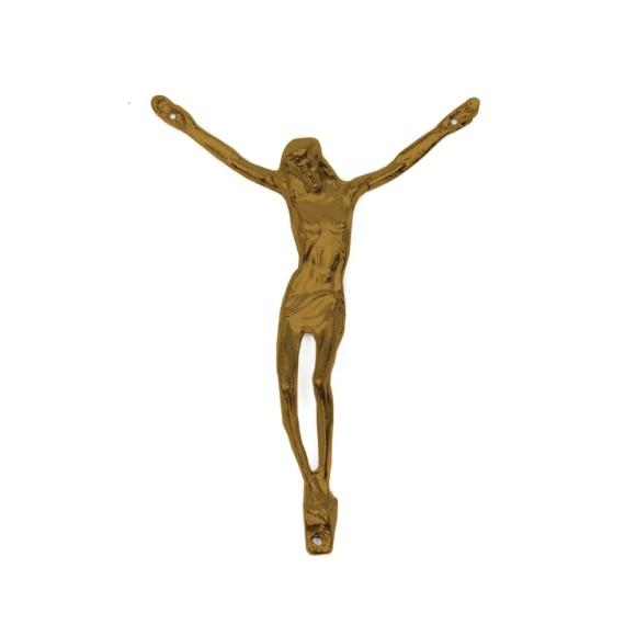 CW831107 - Jesus Cristo Crucificado Metal Ouro Velho - 10,5x7,5cm