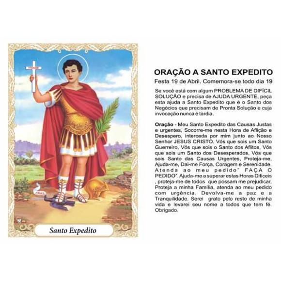 OG141458P100 - Oração Santo Expedito c/ 100un. - 9,5x6,5cm