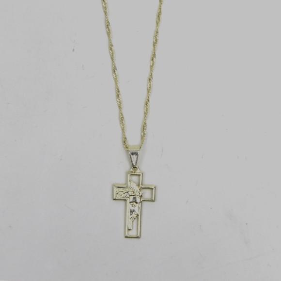 CO41323 - Colar Cruz Sagrada Face de Cristo Folheado - 48,5x1,7cm