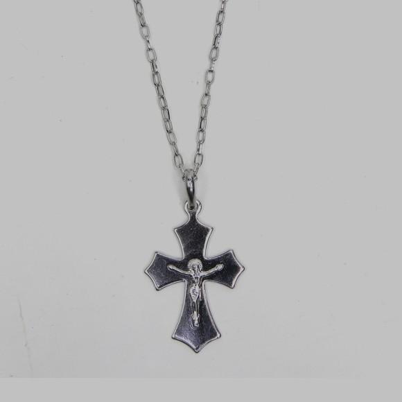 CO03111 - Colar Crucifixo Aço Inox - 35x3,5xcm