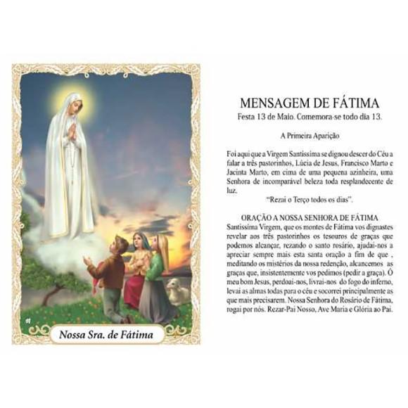 OP14013P100 - Oração N. Sra. De Fátima c/ 100un. - 6x4cm