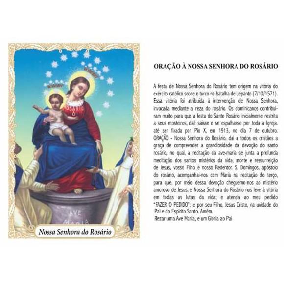 OP14033P100 - Oração N. Sra. Do Rosário c/ 100un. - 6x4cm