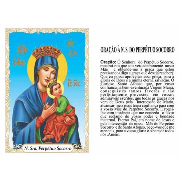 OP14036P100 - Oração N. Sra. Do Perpétuo Socorro c/ 100un. - 6x4cm