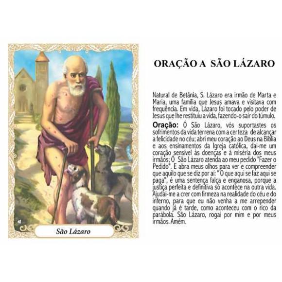 OP141419P100 - Oração São Lázaro c/ 100un. - 6x4cm