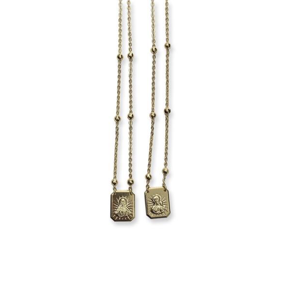 ES1710250 - Escapulário N. Sra. Do Carmo e Sag. Coração de Jesus Dourado - 33x1,2cm