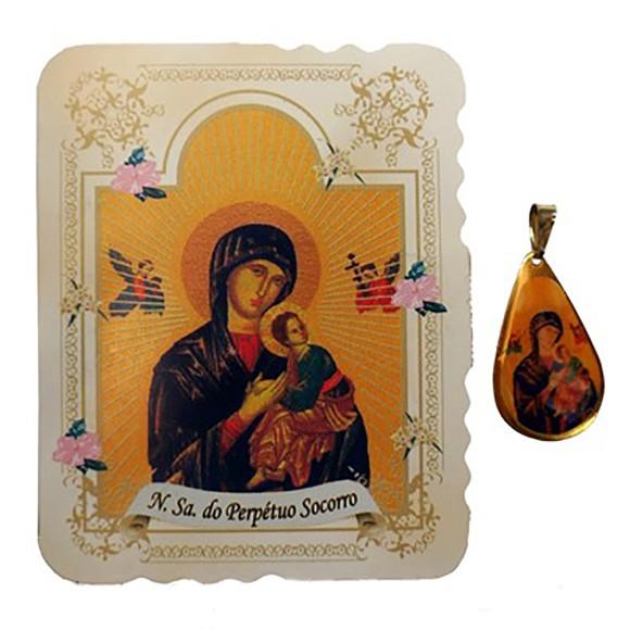 CM14011 - Cartão N. Sra. do Pérpetuo Socorro c/ Medalha - 7,5x6cm