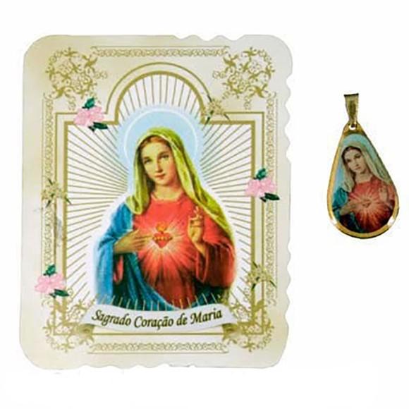 CM14013 - Cartão Sagrado Coração de Maria c/ Medalha - 7,5x6cm