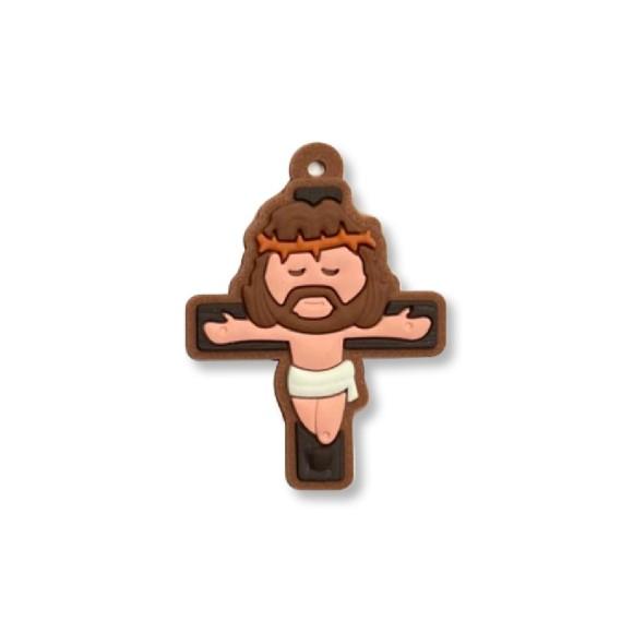 CZ1710040 - Crucifixo Marrom Emborrachado - 5x3,7cm