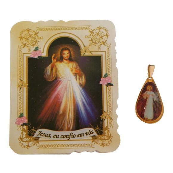 CM141403 - Cartão Jesus eu Confio em Vós c/ Medalha - 7,5x6cm