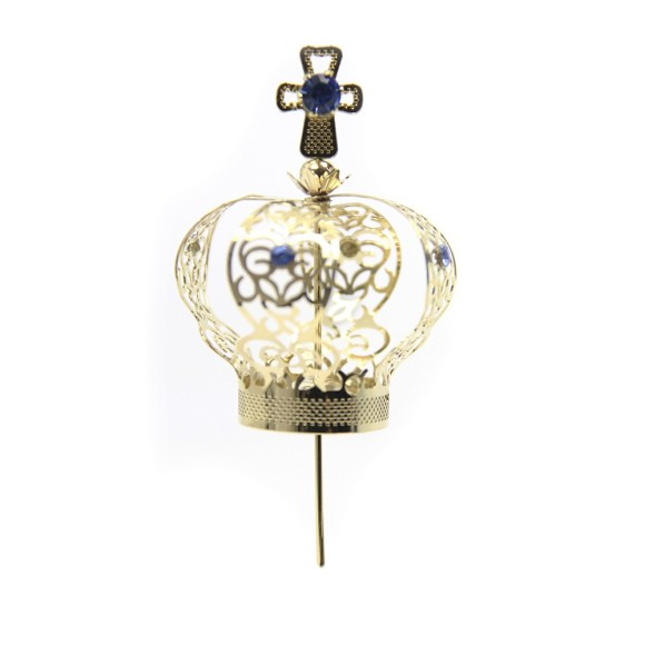 CS3104 - Coroa com Strass Azul p/ Imagem de Nossa Senhora (n° 05) - 8,5x5cm Diâmetro 2cm