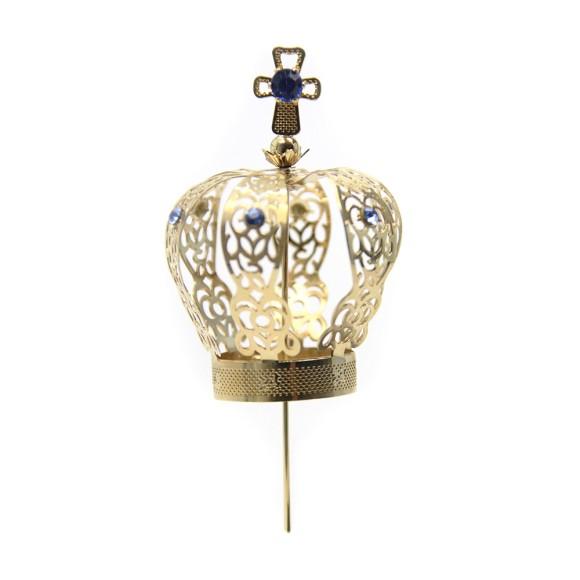 CS3105 - Coroa com Strass Azul p/ Imagem de Nossa Senhora (n° 06) - 10x5cm Diâmetro 2,5cm