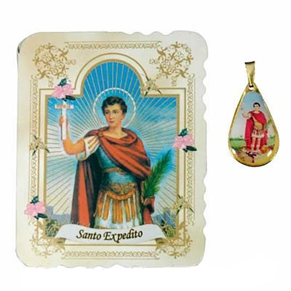 CM141407 - Cartão Santo Expedito c/ Medalha - 7,5x6cm