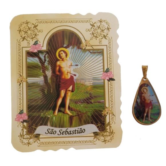 CM141416 - Cartão São Sebastião c/ Medalha - 7,5x6cm
