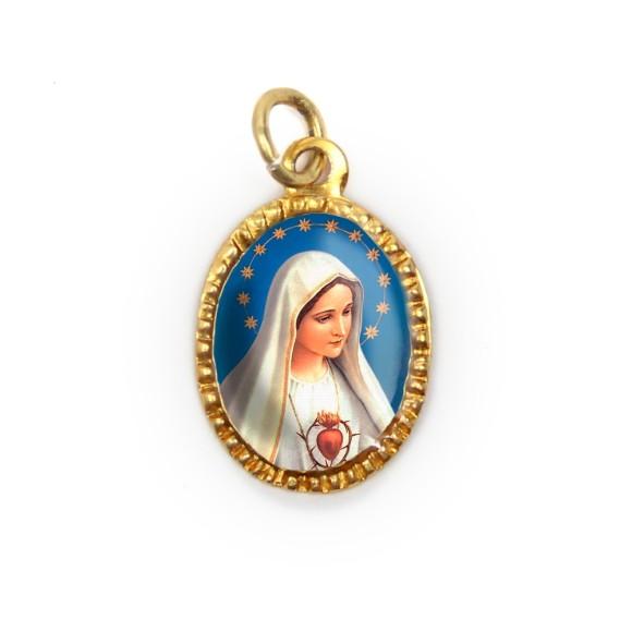 MD103002P10 - Medalha de Alumínio Oval Dourada c/ 10un. Imaculado Coração de Maria - 2X1,3cm