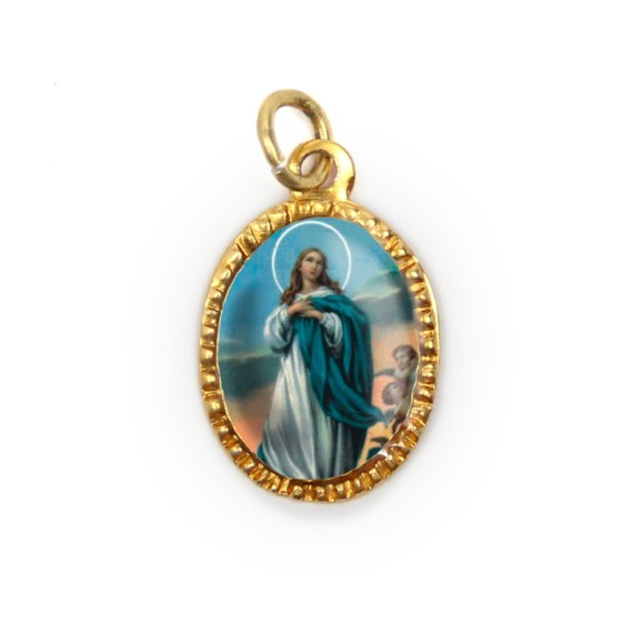 MD103015P10 - Medalha de Alumínio Oval Dourada c/ 10un. N. Sra. Da Conceição - 2X1,3cm