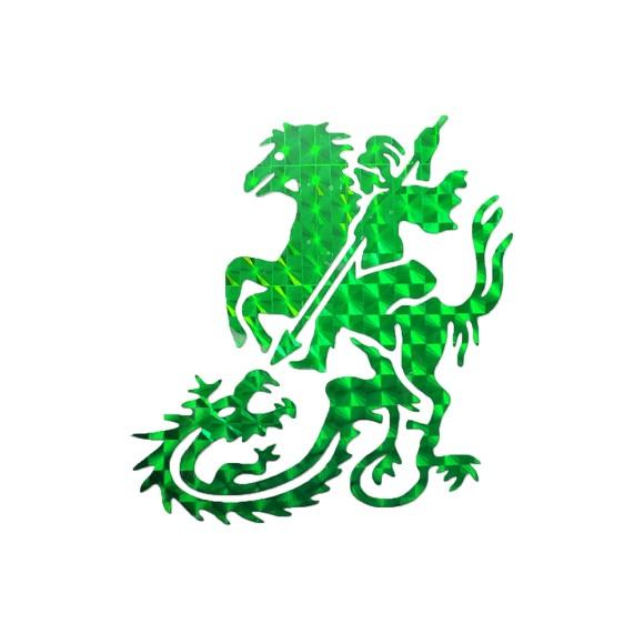 AD1905 - Adesivo São Jorge Brilhante Verde - 9x9cm