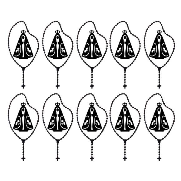 AD1500001P10 - Adesivo Terço N. Sra. Aparecida c/ 10 unid. Preto - 8,5x4cm