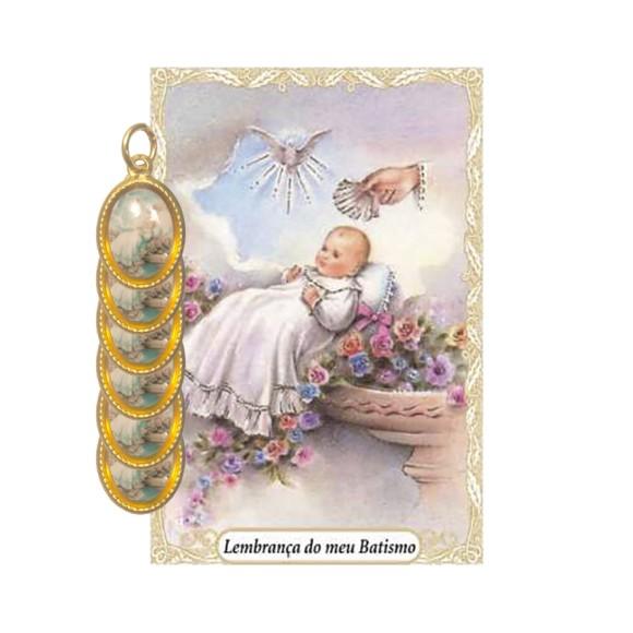 CT1447P6 - Cartão Lembrança Batismo e Medalha Dupla  c/ 6un. Menina - 9,5x6,5cm