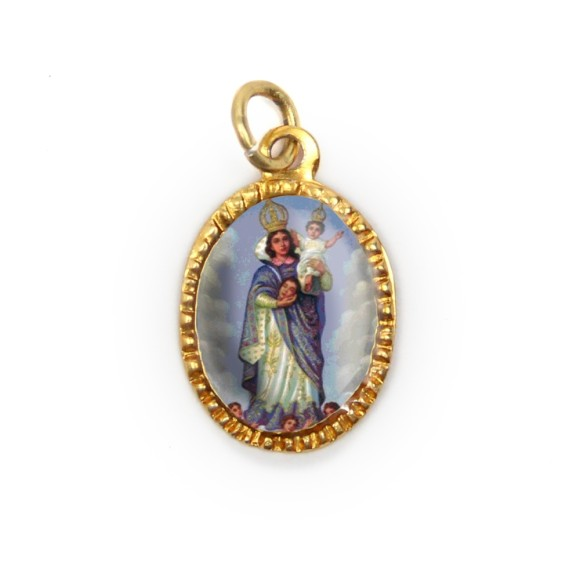 MD103013P10 - Medalha de Alumínio Oval Dourada c/ 10un. N. Sra. Da Cabeça - 2X1,3cm