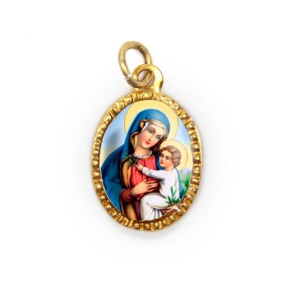 MD103022P10 - Medalha de Alumínio Oval Dourada c/ 10un. N. Sra. Da Paz - 2X1,3cm