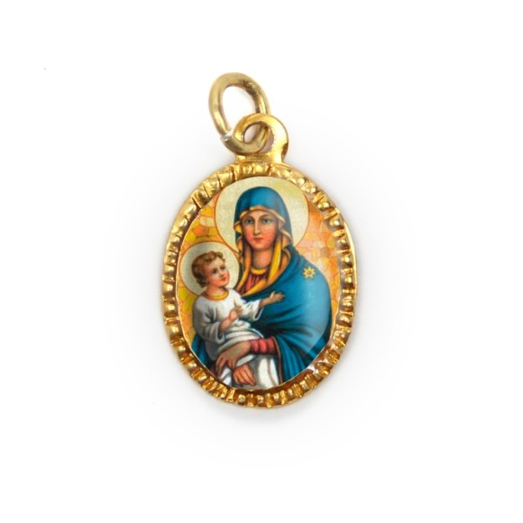 MD103026P10 - Medalha de Alumínio Oval Dourada c/ 10un. N. Sra. Da Saúde - 2x1,3cm