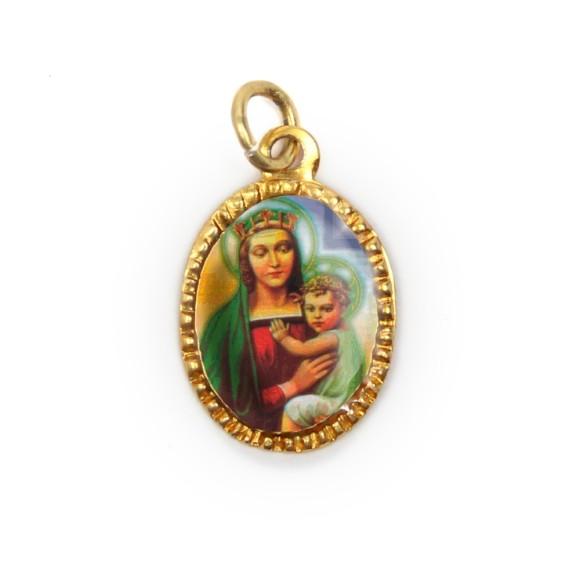 MD103027P10 - Medalha de Alumínio Oval Dourada c/ 10un. N. Sra. Da Saúde - 2x1,3cm