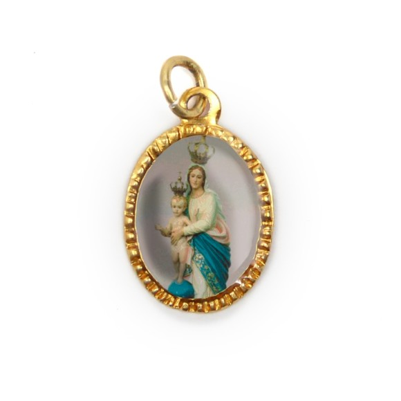 MD103028P10 - Medalha de Alumínio Oval Dourada c/ 10un. N. Sra. Da Vítoria - 2X1,3cm