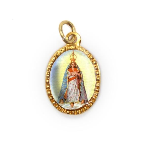 MD103029P10 - Medalha de Alumínio Oval Dourada c/ 10un. N. Sra. D'Abadia - 2X1,3cm