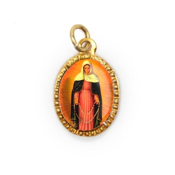 MD103034P10 - Medalha de Alumínio Oval Dourada c/ 10un. N. Sra. Das Lágrimas - 2X1,3cm