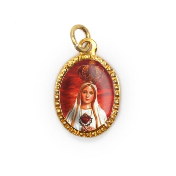 MD103037P10 - Medalha de Alumínio Oval Dourada c/ 10un. N. Sra. De Fátima - 2X1,3cm