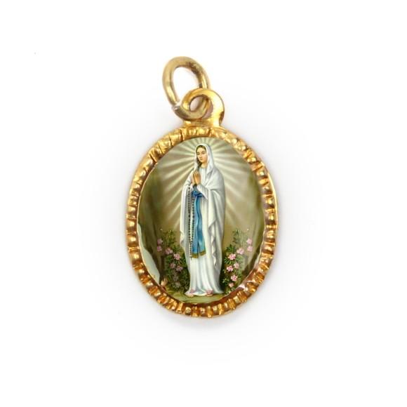 MD103040P10 - Medalha de Alumínio Oval Dourada c/ 10un. N. Sra. De Lourdes - 2X1,3cm