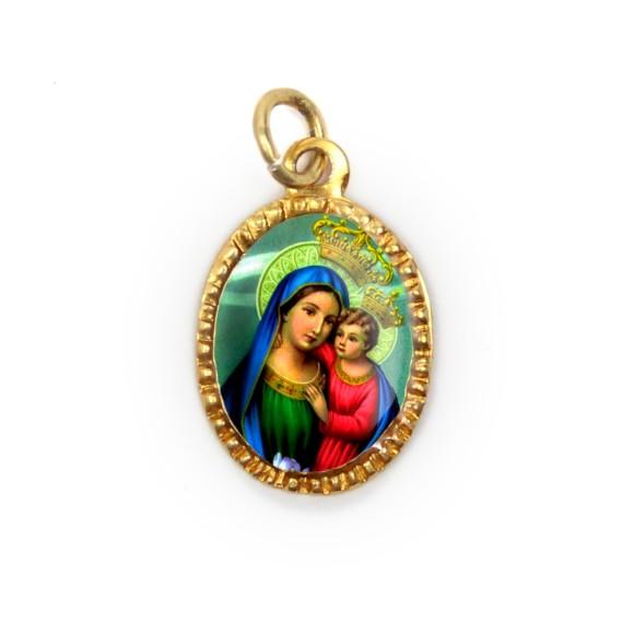 MD103046P10 - Medalha de Alumínio Oval Dourada c/ 10un. N. Sra. Do Bom Conselho - 2X1,3cm