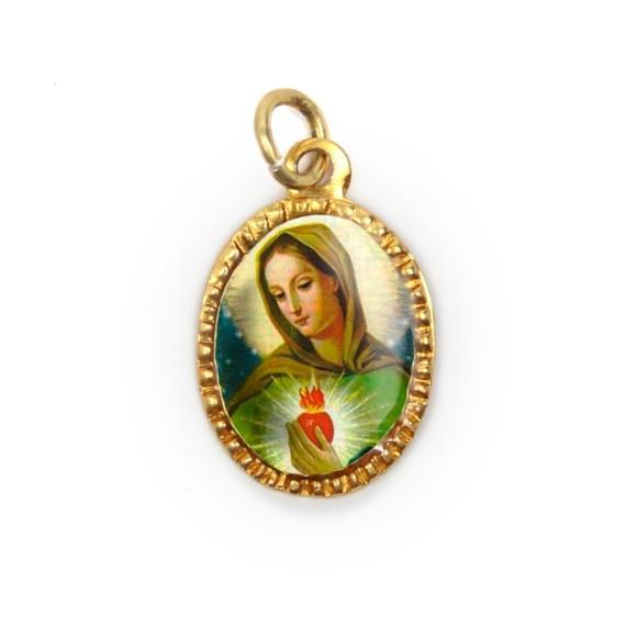 MD103001P10 - Medalha de Alumínio Oval Dourada c/ 10un. Chama do Amor - 2X1,3cm