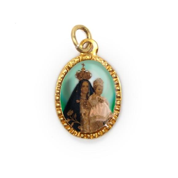 MD103048P10 - Medalha de Alumínio Oval Dourada c/ 10un. N. Sra. Do Brasil - 2X1,3cm
