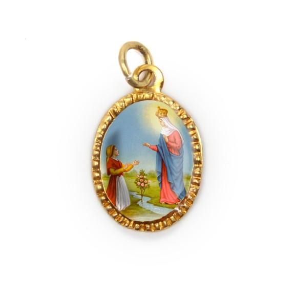 MD103049P10 - Medalha de Alumínio Oval Dourada c/ 10un. N. Sra. Do Caravaggio - 2X1,3cm