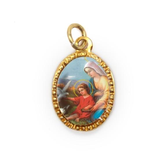 MD103054P10 - Medalha de Alumínio Oval Dourada c/ 10un. N. Sra. Do Lar - 2X1,3cm