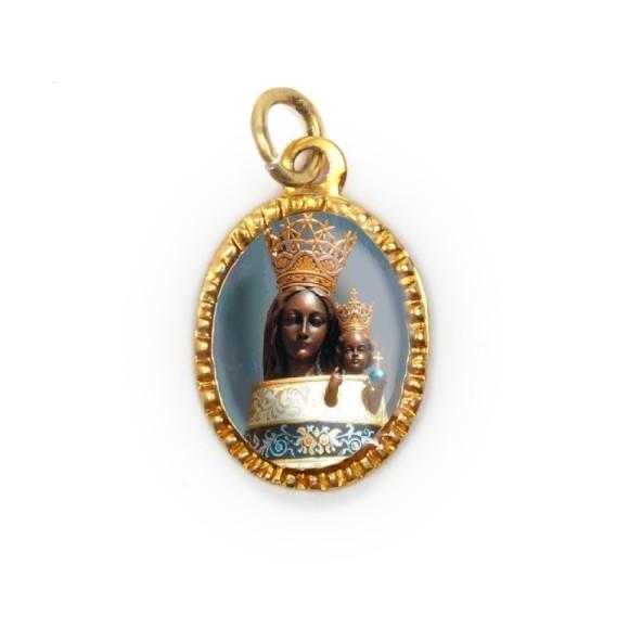 MD103055P10 - Medalha de Alumínio Oval Dourada c/ 10un. N. Sra. Do Loreto - 2X1,3cm