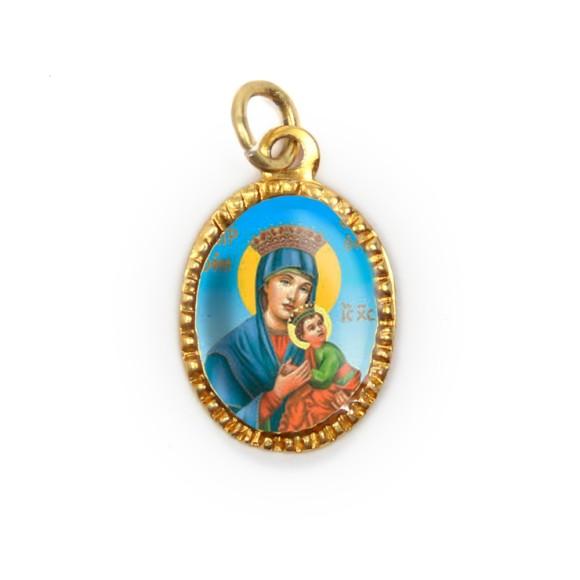 MD103058P10 - Medalha de Alumínio Oval Dourada c/ 10un. N. Sra. Do Perpétuo Socorro - 2X1,3cm