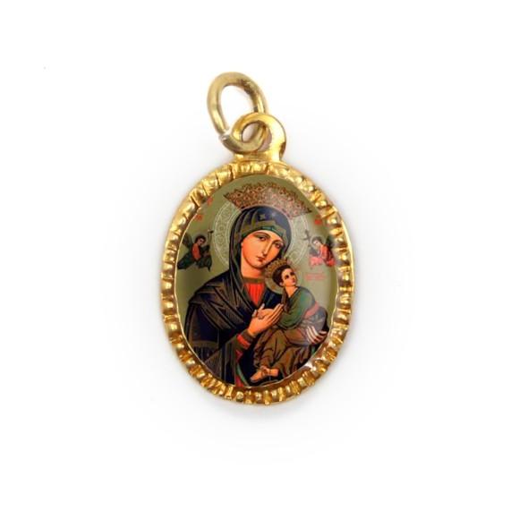 MD103059P10 - Medalha de Alumínio Oval Dourada c/ 10un. N. Sra. Do Perpétuo Socorro - 2X1,3cm