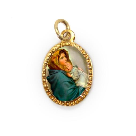 MD103061P10 - Medalha de Alumínio Oval Dourada c/ 10un. N. Sra. Do Repouso - 2X1,3cm