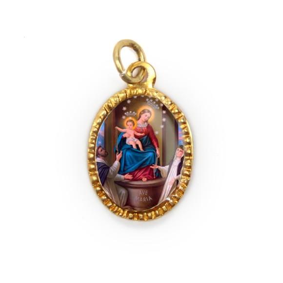 MD103062P10 - Medalha de Alumínio Oval Dourada c/ 10un. N. Sra. Do Rosário - 2X1,3cm