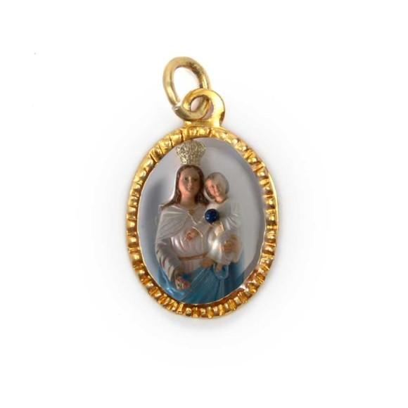 MD103064P10 - Medalha de Alumínio Oval Dourada c/ 10un. N. Sra. Dos Aflitos - 2X1,3cm