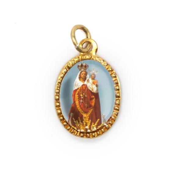 MD103069P10 - Medalha de Alumínio Oval Dourada c/ 10un. N. Sra. Virgem da Luz - 2X1,3cm