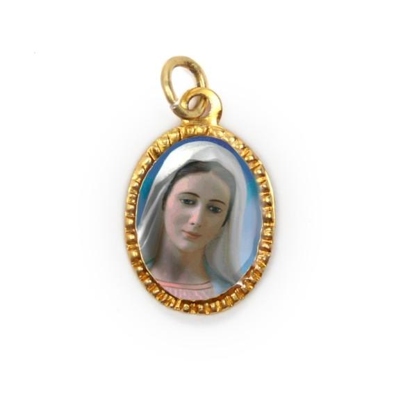 MD103071P10 - Medalha de Alumínio Oval Dourada c/ 10un. Rainha da Paz - 2X1,3cm