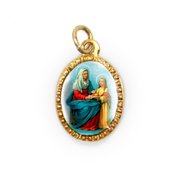 MD103074P10 - Medalha de Alumínio Oval Dourada c/ 10un. Santa Ana - 2X1,3cm