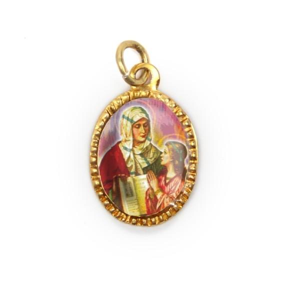 MD103075P10 - Medalha de Alumínio Oval Dourada c/ 10un. Santa Ana - 2X1,3cm