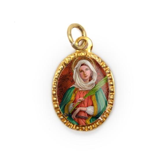 MD103076P10 - Medalha de Alumínio Oval Dourada c/ 10un. Santa Apôlonia - 2X1,3cm